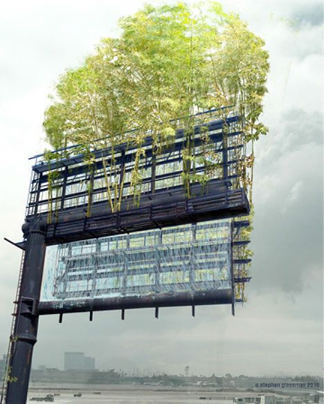 Existing billboards could be filled with plants instead of advertisements. UrbanAir is a project by artist Stephen Glassman that has received enough funding through Kickstarter to begin installing vertical urban gardens where billboards stand. The first is planned for the Los Angeles freeway.
