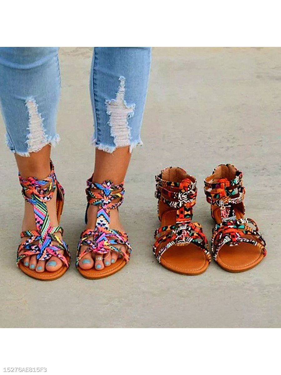 84ded1389bf Floral Flat Ankle Strap Peep Toe Casual Gladiator Sandals - berrylook.com