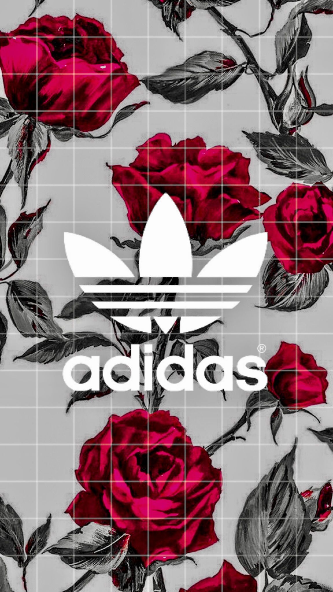 Roses red black adidas wallpaper iphone