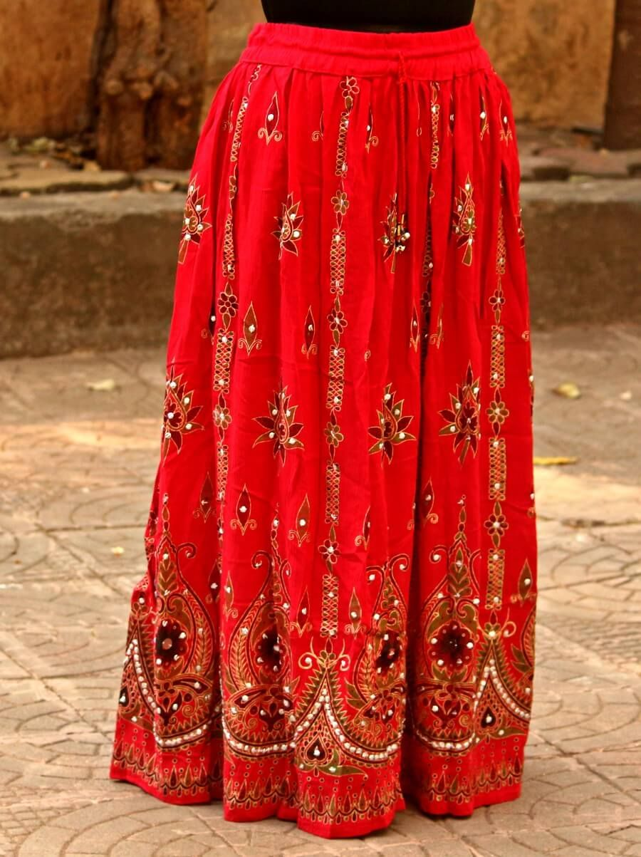 1749bb47b Red Colored Hand Embroidered Foil Mirror Work Cotton Blend Long Skirt Rs.  659 Our price
