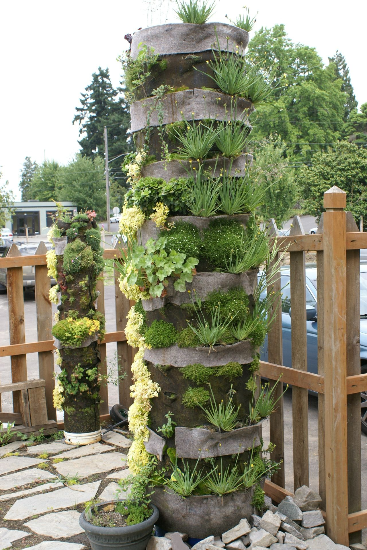 vertical garden column - would not have a very big footprint and easy irrigation    http://www.lushe.com.au/tag/vertical-gardens/