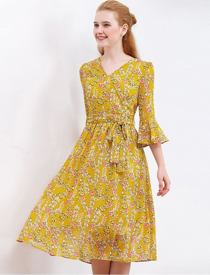 More Forties Inspired Flair: 1940s Inspired Breath Of Fresh Air Floral Retro Midi