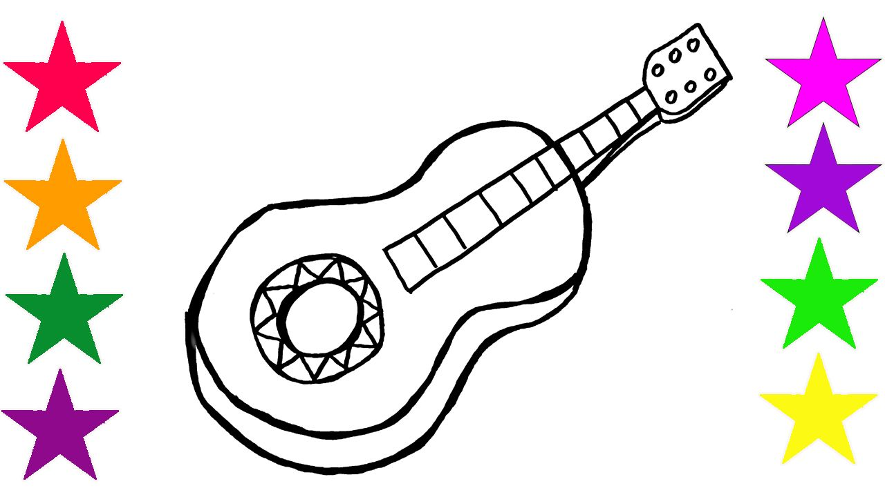 Drawing Cartoon For Kids How To Draw Guitar Coloring And Art Colours Learning Colors