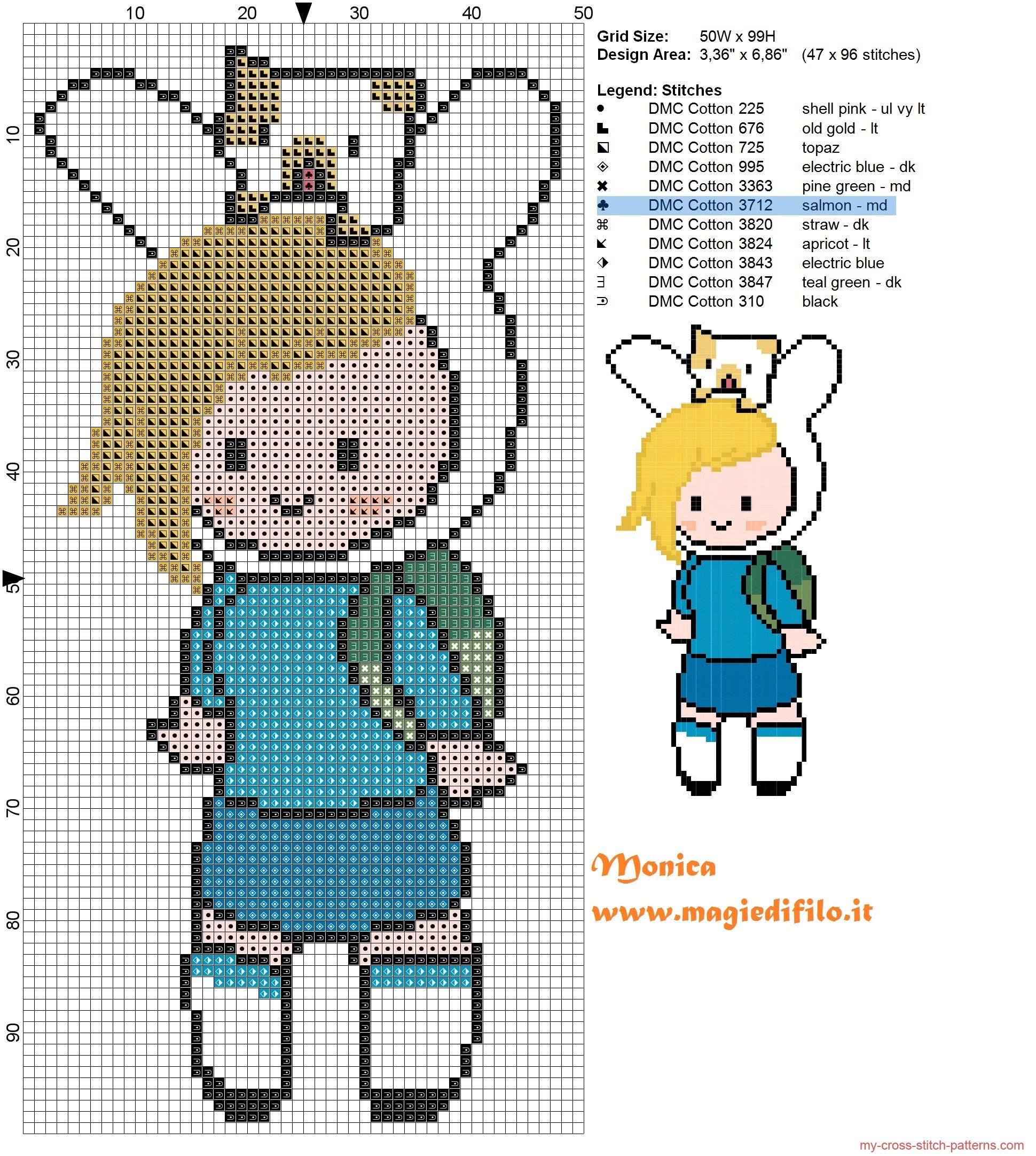 Fionna (Adventure Time) cross stitch pattern | hora de aventura ...