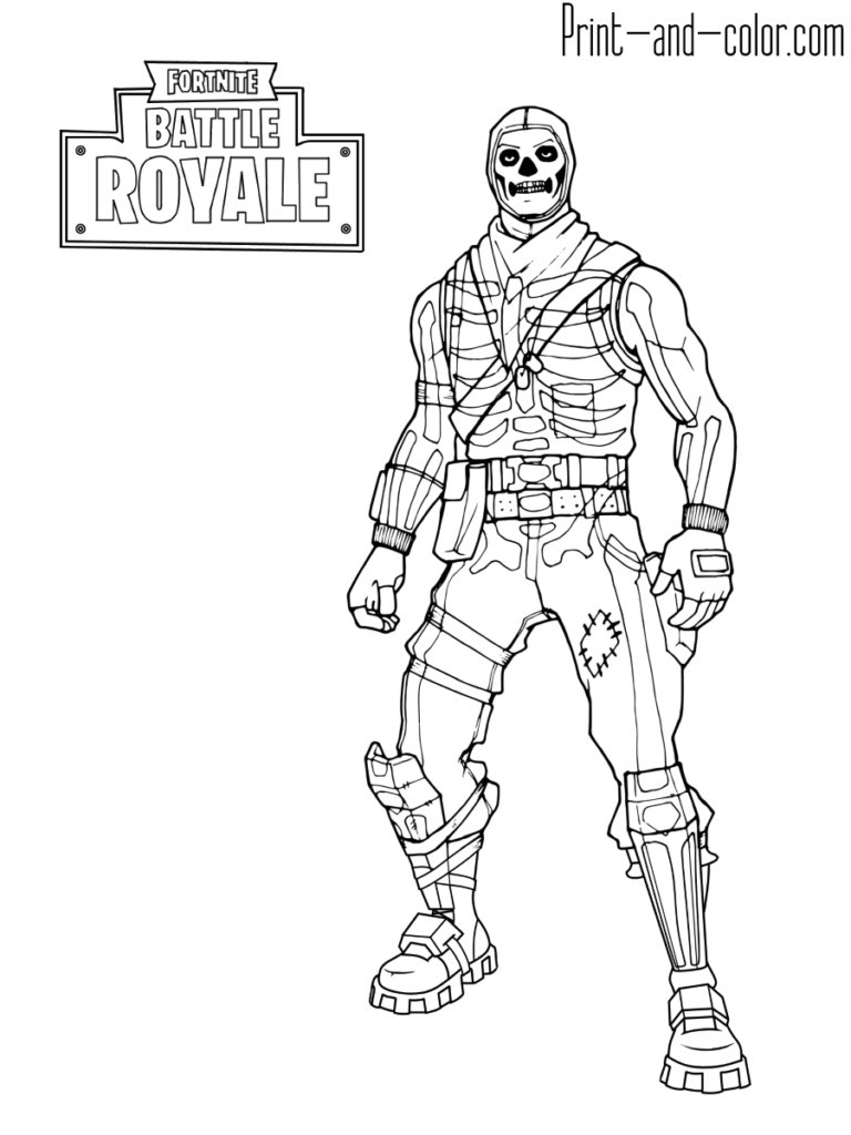 Fortnite battle royale coloring page skull trooper for Fortnite disegni da colorare