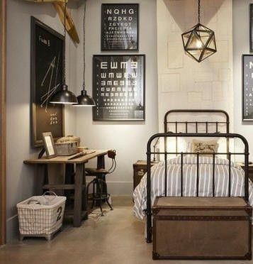 Industrial lighting, vintage metal bed, wood furnishings, typographical art...French Industrial chic                                                                                                                                                     More