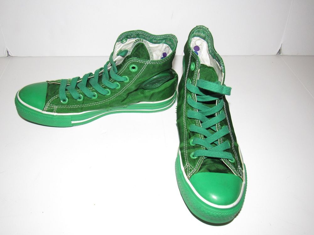 ec9128f6208a RARE Converse All Star Chuck Taylor High Top Green Nylon Shoes Mens 6  Womens 8