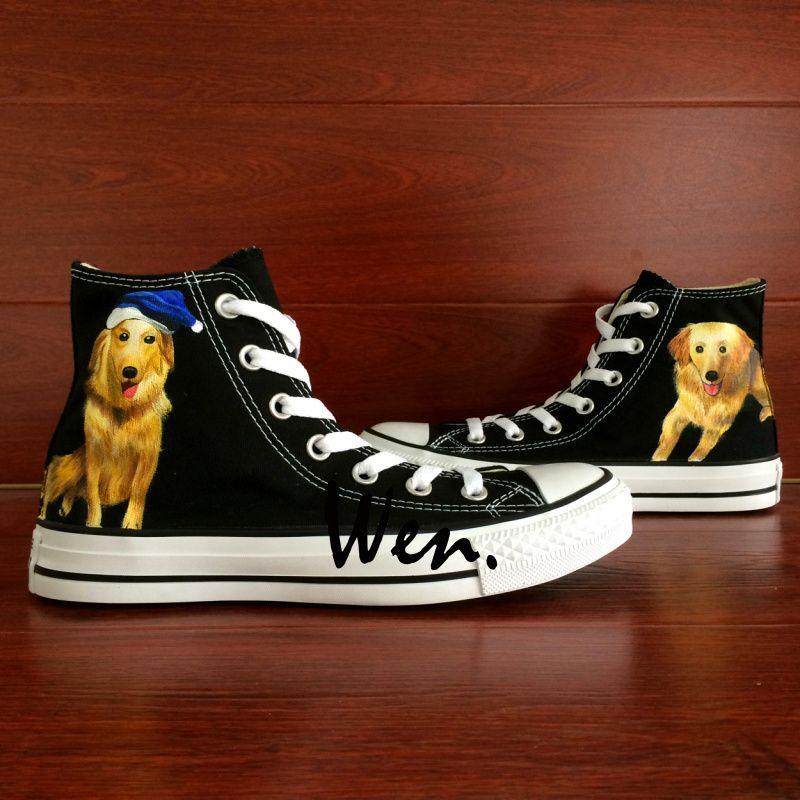 017dd3a1d6ac4 Wen Hand Painted Black Casual Shoes Custom Design Pet Dog Golden ...