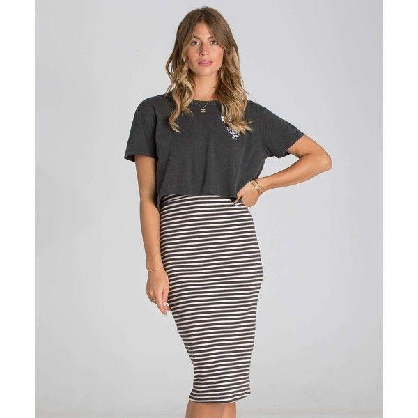 Billabong Women's New Views Midi Skirt ($40) ❤ liked on Polyvore featuring skirts, patterned mini skirt, striped mini skirt, high waisted skirts, print midi skirt and striped midi skirt