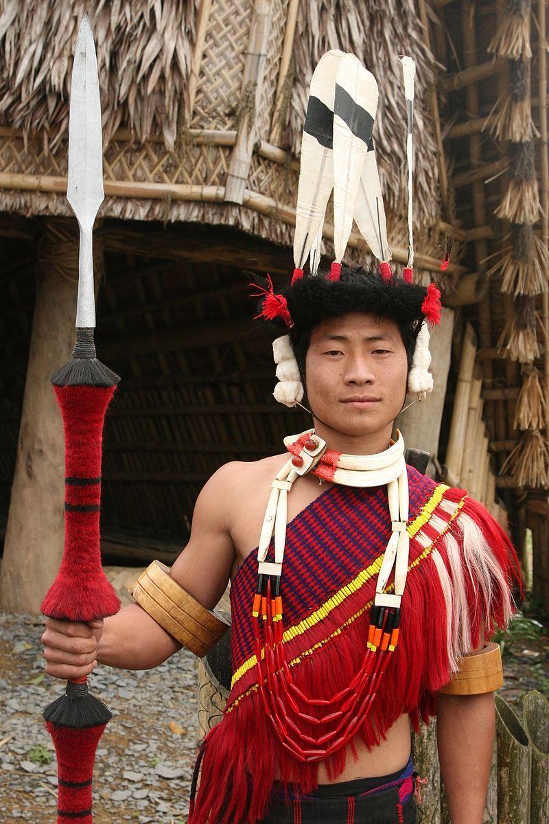 Ao tribesman at his village for festival celebration Nagaland India