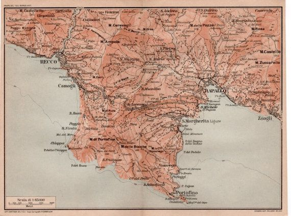 1916 Portofino Italy Antique Map Vintage Lithograph By Craftissimo