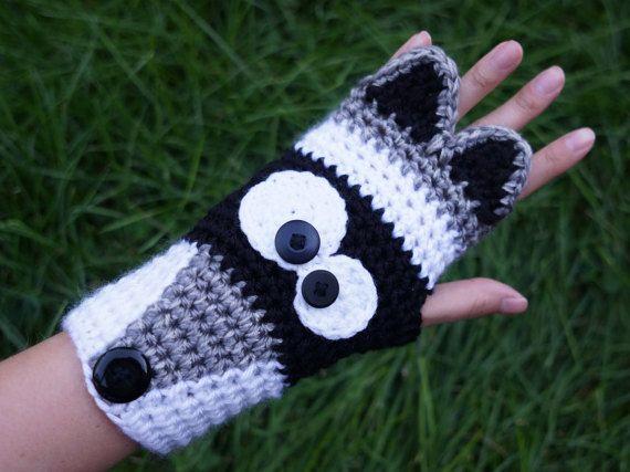 Crochet Raccoon fingerless gloves, cute animal armwarmers, animal ...