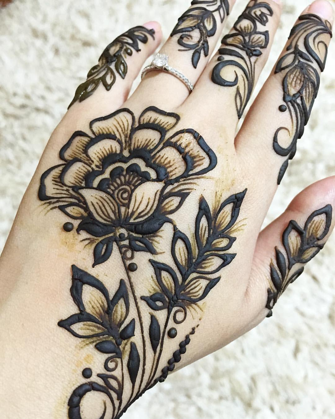 Side View Flower Hand Henna Henna Mehndi Mehndi Designs