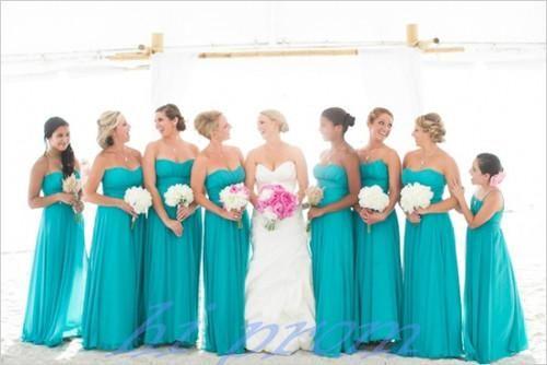 Blue Bridesmaid Dresses Long Gown Summer Gowns Beach