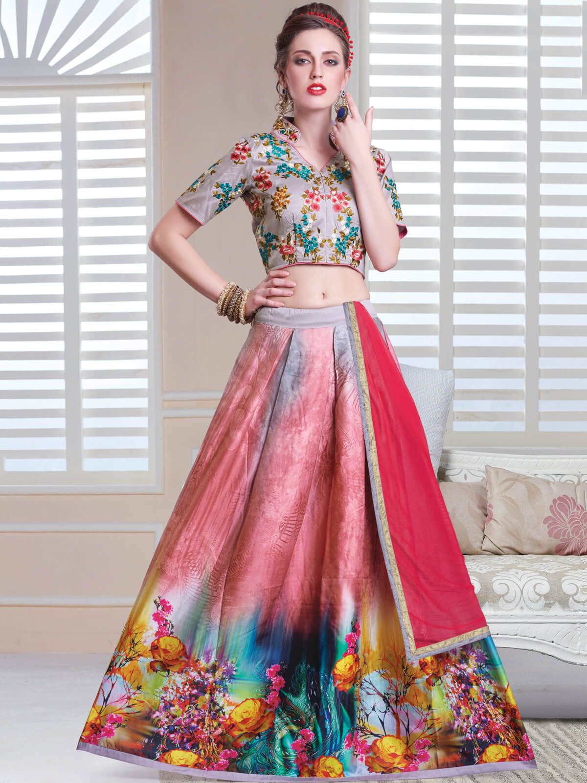 2243460ba9 Captivating multi color ceremonial wear cotton designer lehenga choli. will  make you look very stylish and graceful. Having fabric cotton, satin, art  silk ...