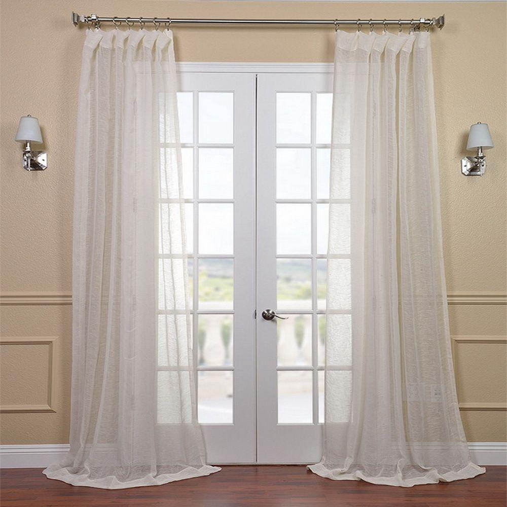 Linen Open Weave Cream 120-inch Sheer Curtain Panel | Overstock.com