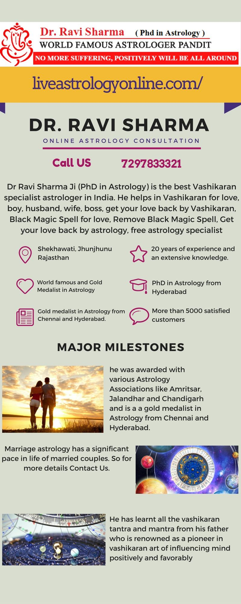 Online Live Astrology Dr Ravi Sharma Ji (PhD in Astrology) is the