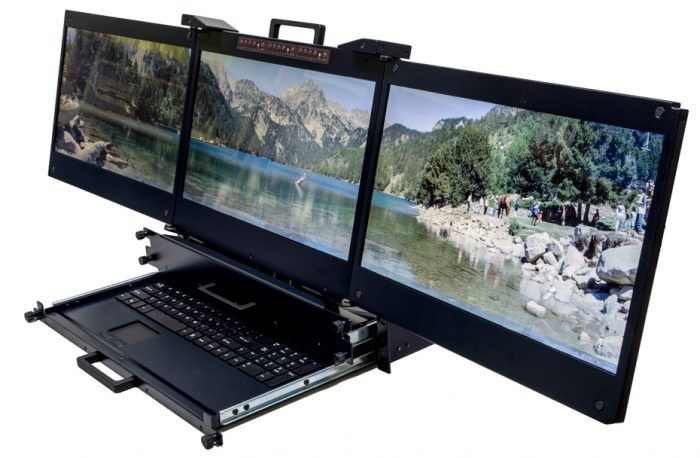 The Best Ever Technology Is Here Rack Mount Triple Monitor Console Keyboard High Resolution And Many More Featu New Technology Gadgets Monitor Spy Equipment