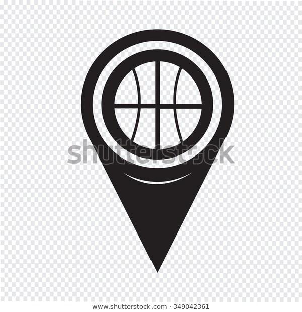 Map Pin Pointer Basketball Icon Stock Vector (Royalty Free