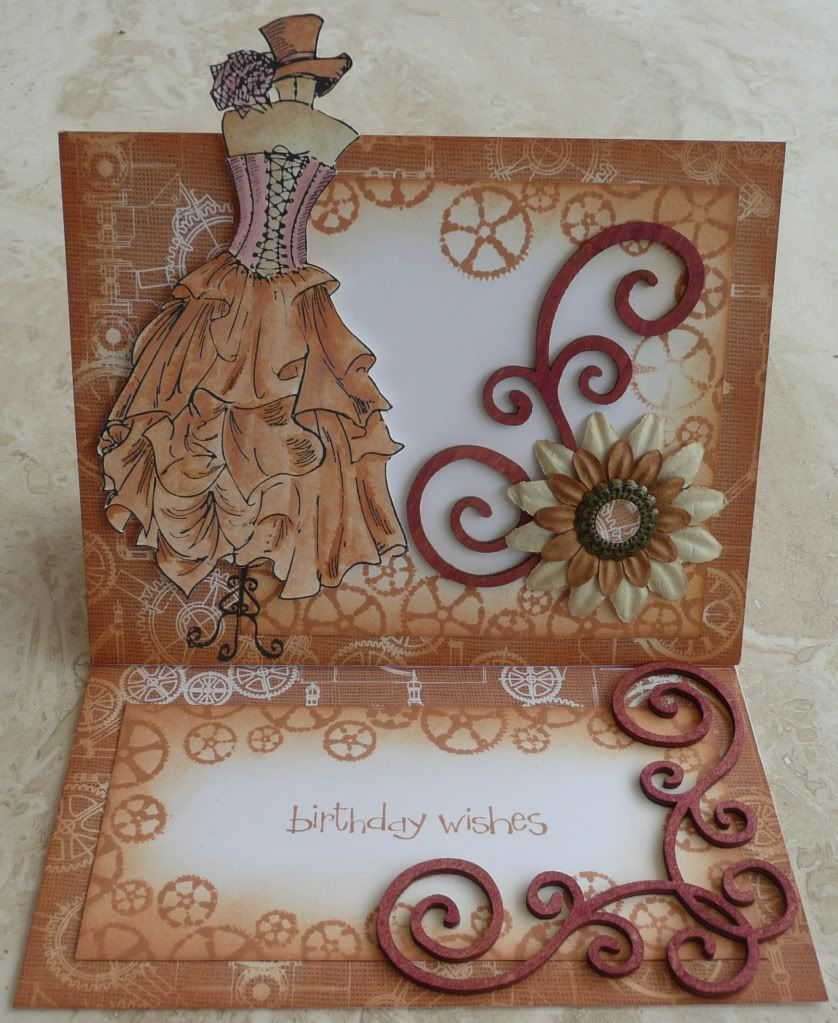 How to scrapbook greeting cards - Steampunk Birthday Card