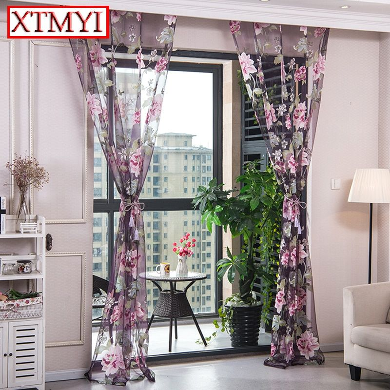 Purple Fl Tulle Curtains For