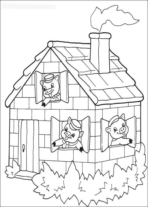 Three Little Pigs Houses Fairy Tales Disney Coloring Pages For Kids