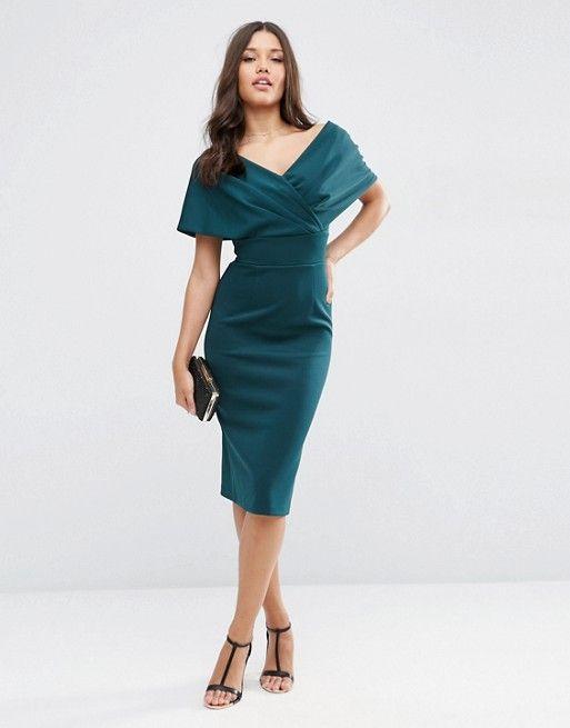 dae5ef2f0eefd Premium Fold Scuba Cape Midi Bodycon Dress | wish list | Dresses ...