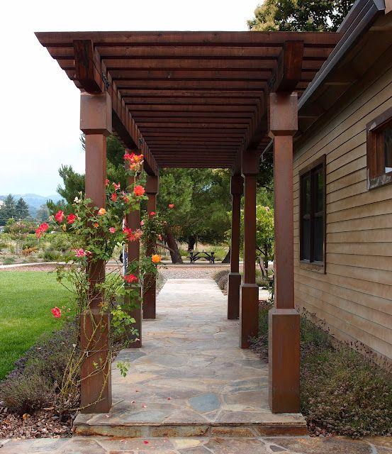 Garage Door Landscaping Ideas: Pergola For The Walkway From Detached Garage To Back Door