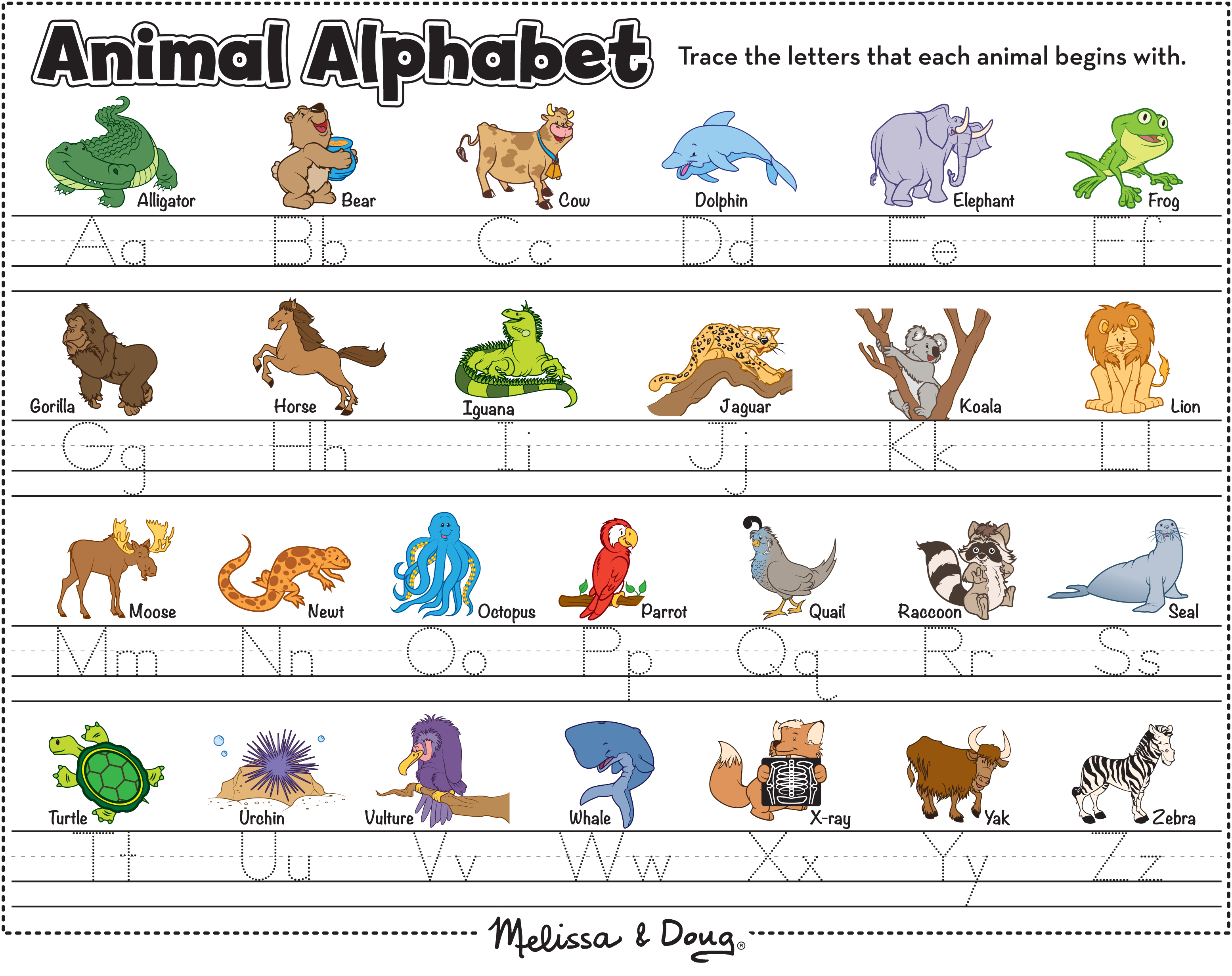Map And Alphabet Printables For Kids Melissa Doug Blog Alphabet Printables Kids Learning Tools Animal Alphabet