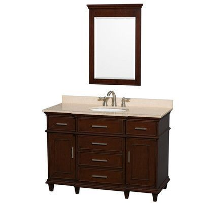 Wyndham Collection Berkeley 48 Single Bathroom Vanity Set With Mirror Single Bathroom Vanity Marble Vanity Tops Single Sink Bathroom Vanity
