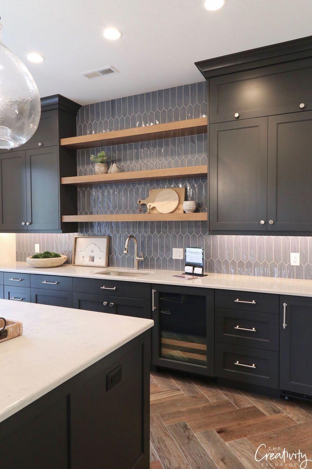 Benjamin Moore Hale Navy Cabinets And Open Shelves Combo Love The Tile Modernkitchen Interior Design Kitchen Kitchen Design Modern Kitchen