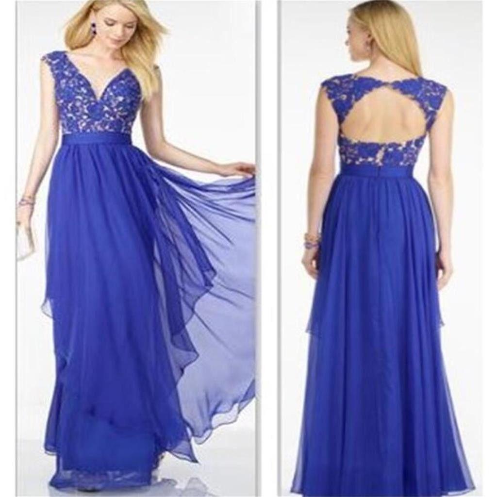 Royal Blue Chiffon Cheap A-line Affordable Evening Long Prom Dresses ...