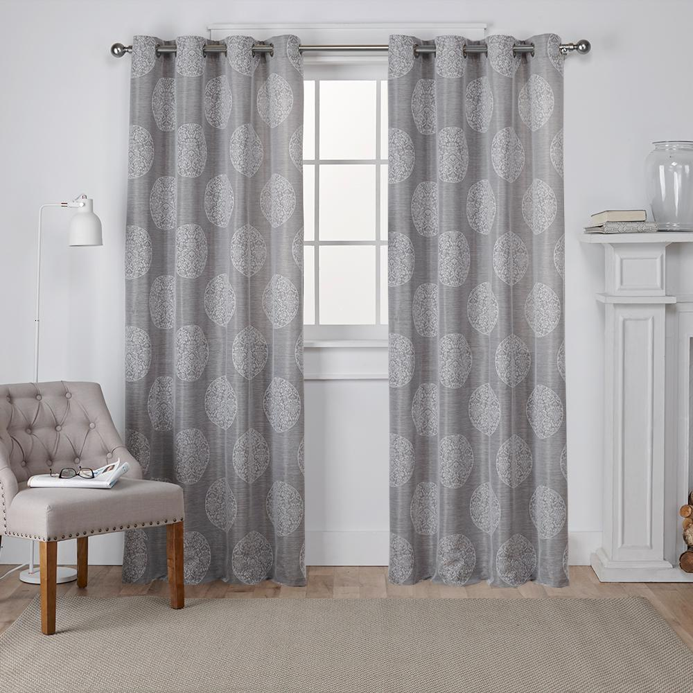 Akola 54 In W X 96 In L Jacquard Grommet Top Curtain Panel In Ash Gray 2 Panels Eh7930 03 2 96g Grommet Top Curtains Exclusive Home Curtains