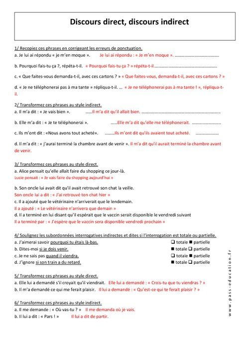 Discours Direct Discours Indirect 5eme Exercices Corriges Grammaire College Discours Direct Discours Indirect Grammaire College