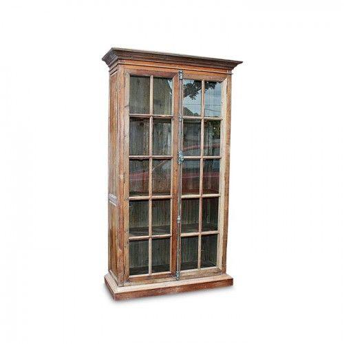 Rustic Bookcase 2 Gl Doors