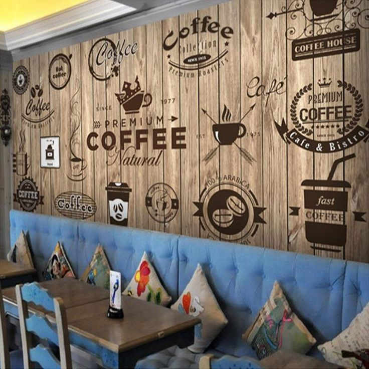 Retro Wood Grain Cafe Wallpaper
