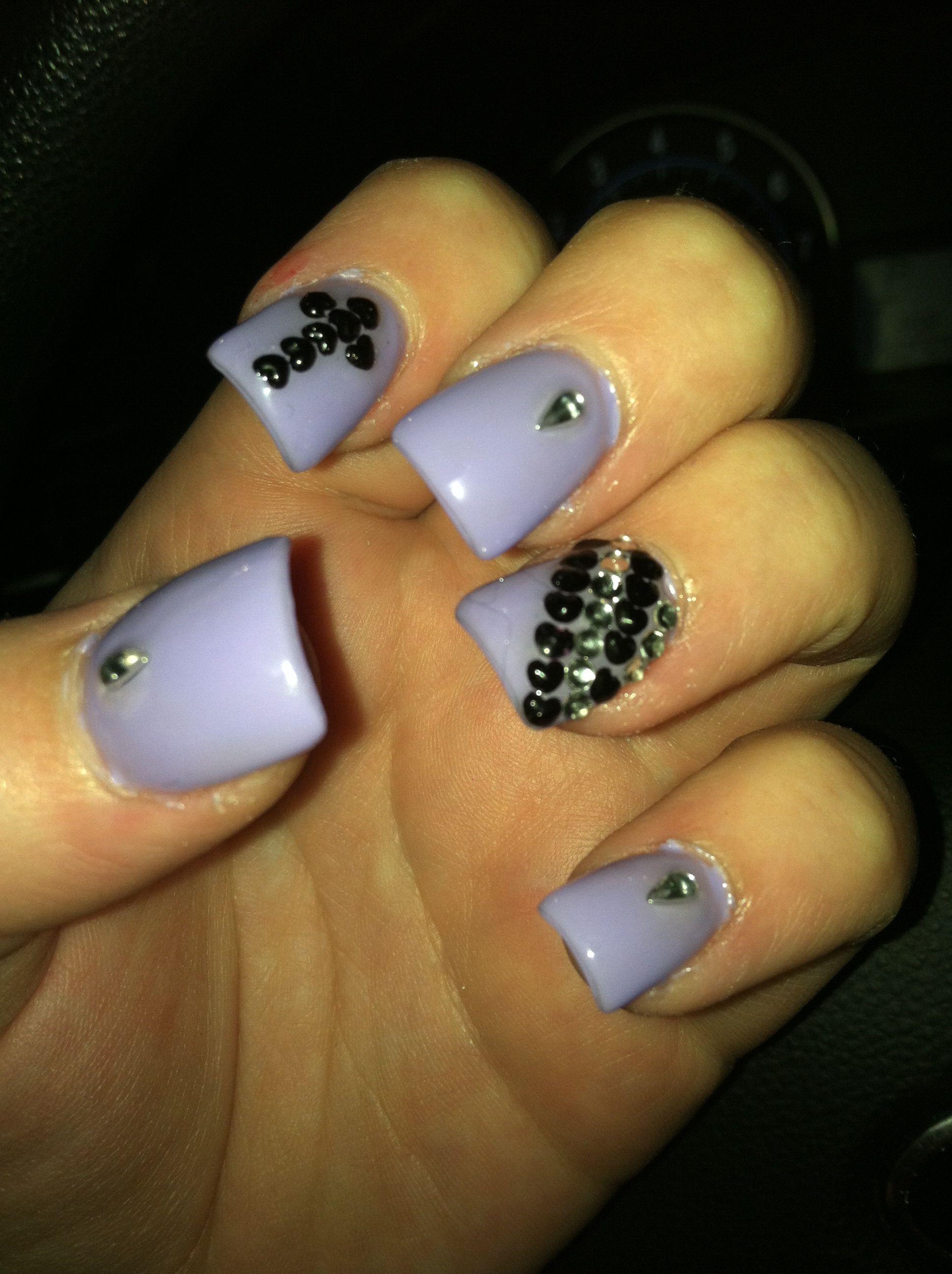 Cute Nail Design Rhinestones And A Cross Nails Pinterest
