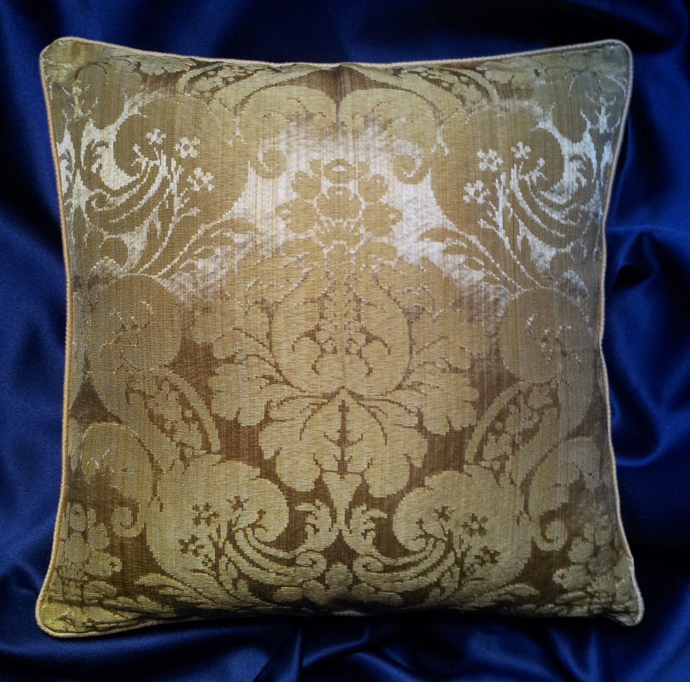 Rubelli Ruzante Gold Silk Damask Fabric Throw Pillow Cushion Cover