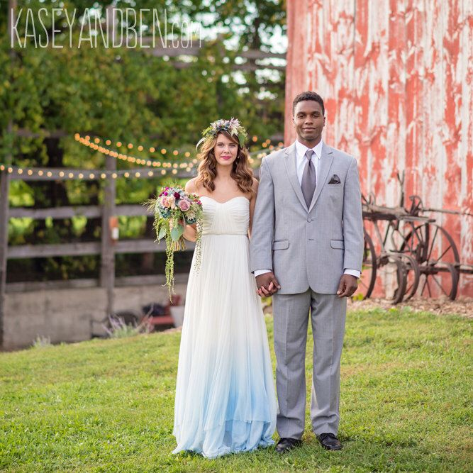 Something Blue Dip Dyed Ombré Silk Tulle Wedding Dress - Julia by ...