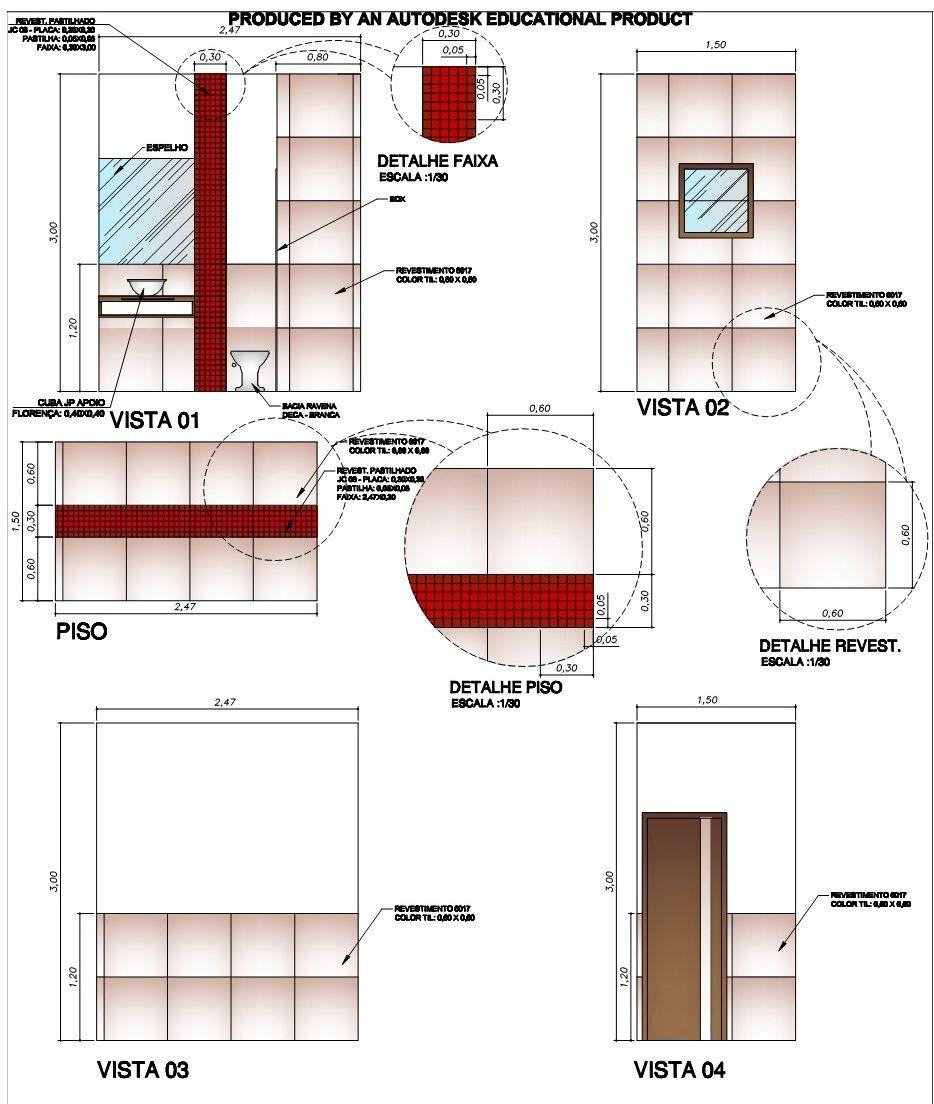 Paginação De Banheiro Social Architectural Representation