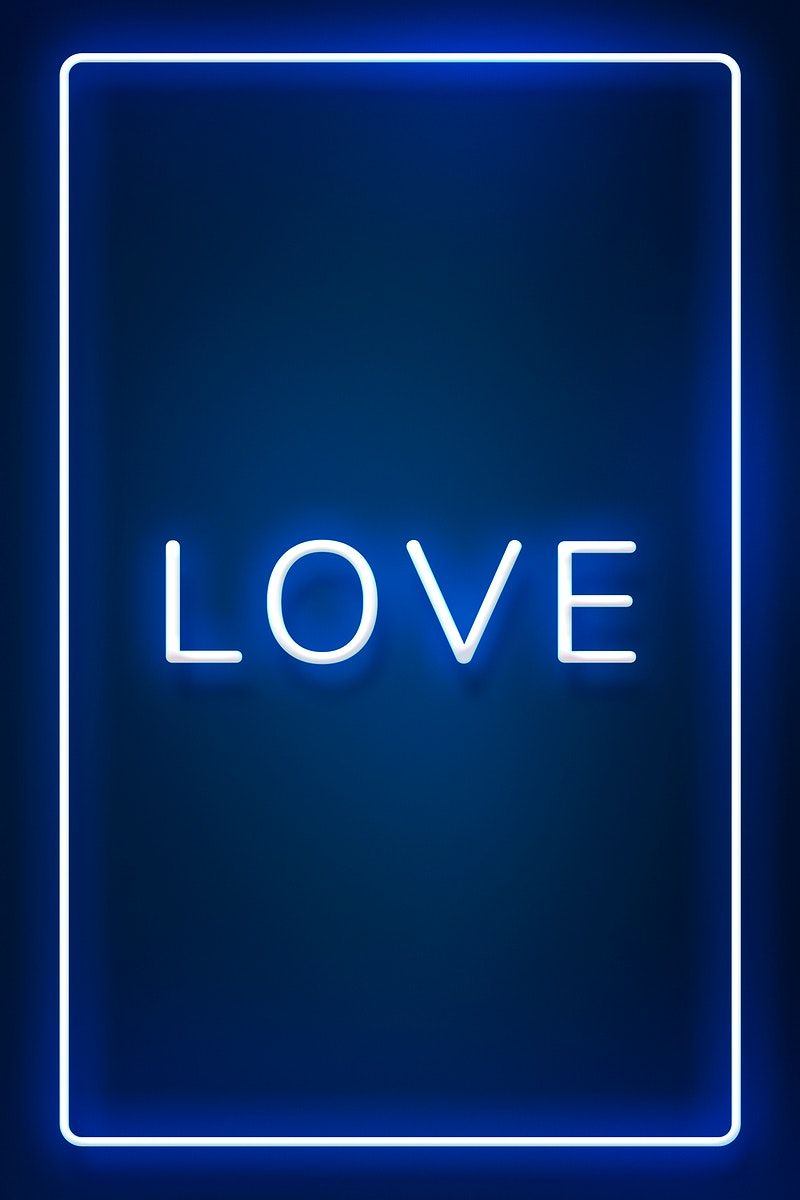 Glowing Love Neon Typography On A Blue Background Free Image By Rawpixel Com Hein Neon Typography Neon Blue Neon Lights
