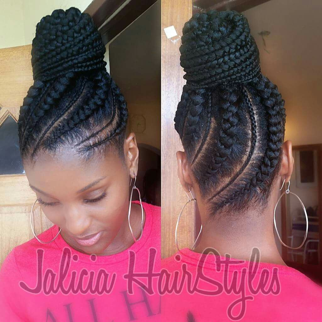 Mixed Thickness Cornrow Updo Braided Hairstyles For Black Women Cornrows Hair Styles Natural Hair Styles