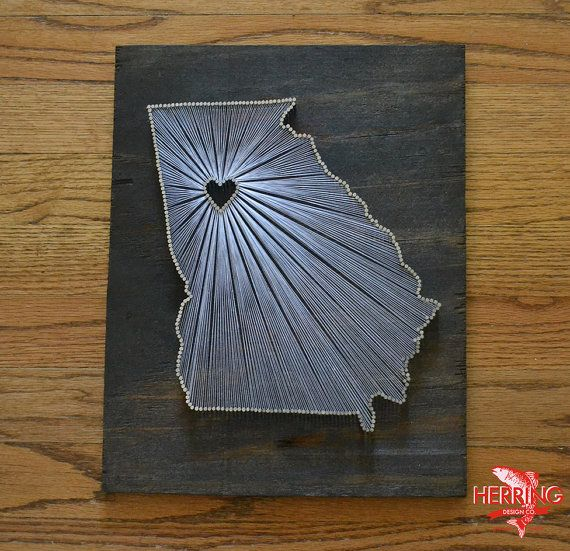 Stained Georgia State String Art Atlanta Georgia Stained Nail