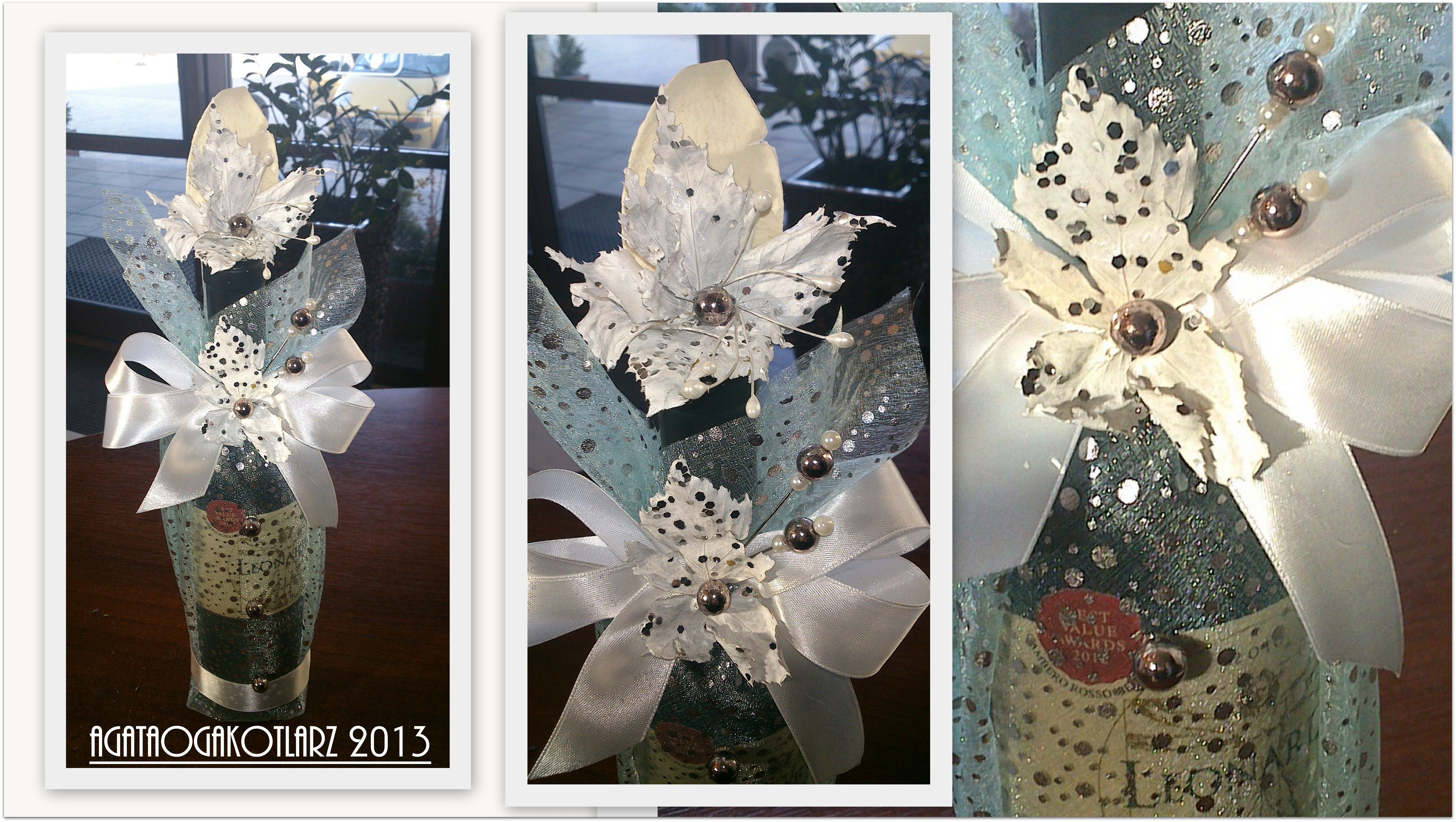 Butelka Wina Zapakowana W Material Ozdobiona Farbowanymi Na Bialo Liscmi Debu Glass Vase Vase Glass