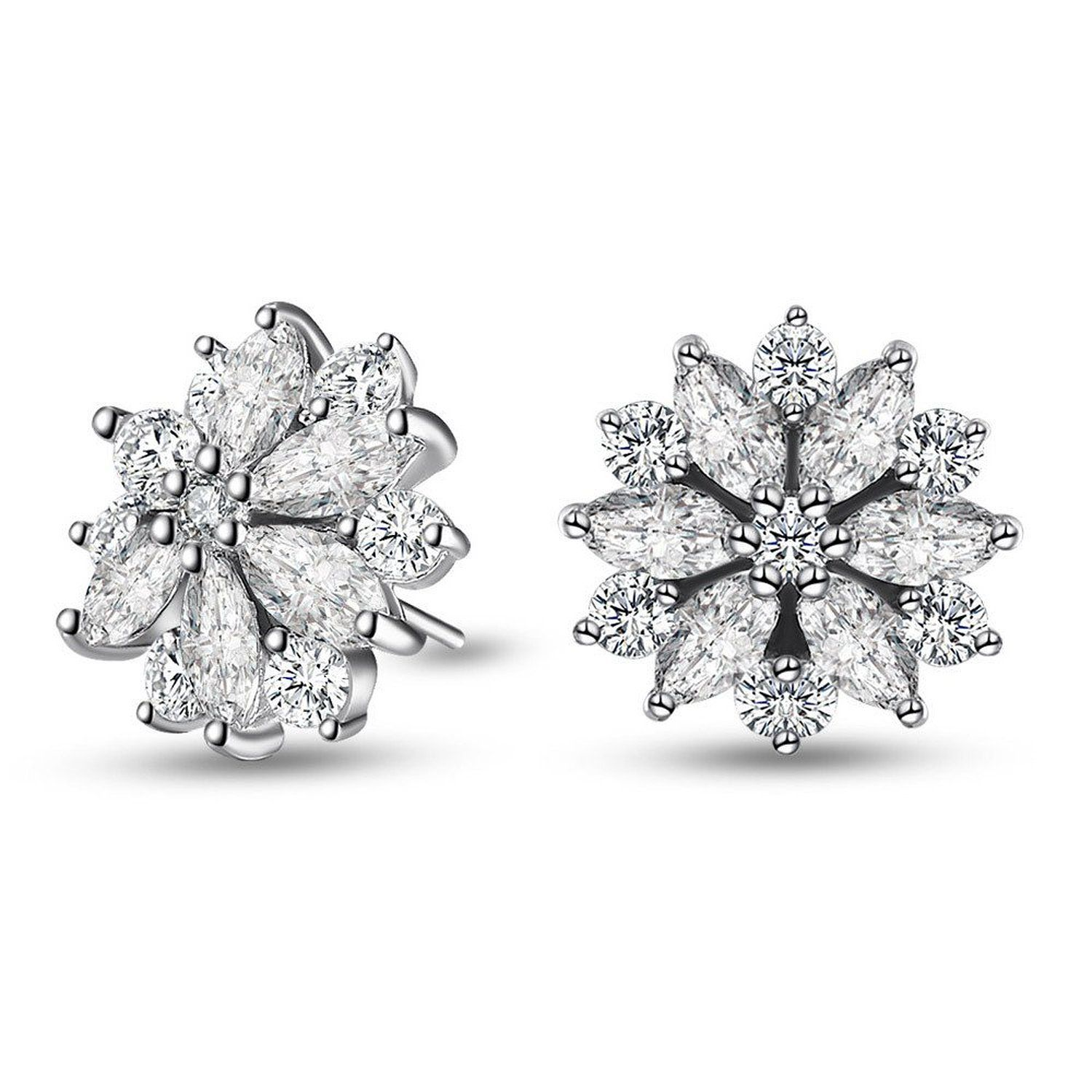 b000efc27 Amazon.com: Caperci Sterling Silver Cubic Zirconia Snow Blossom Flower Earrings  Studs for Women: Clothing
