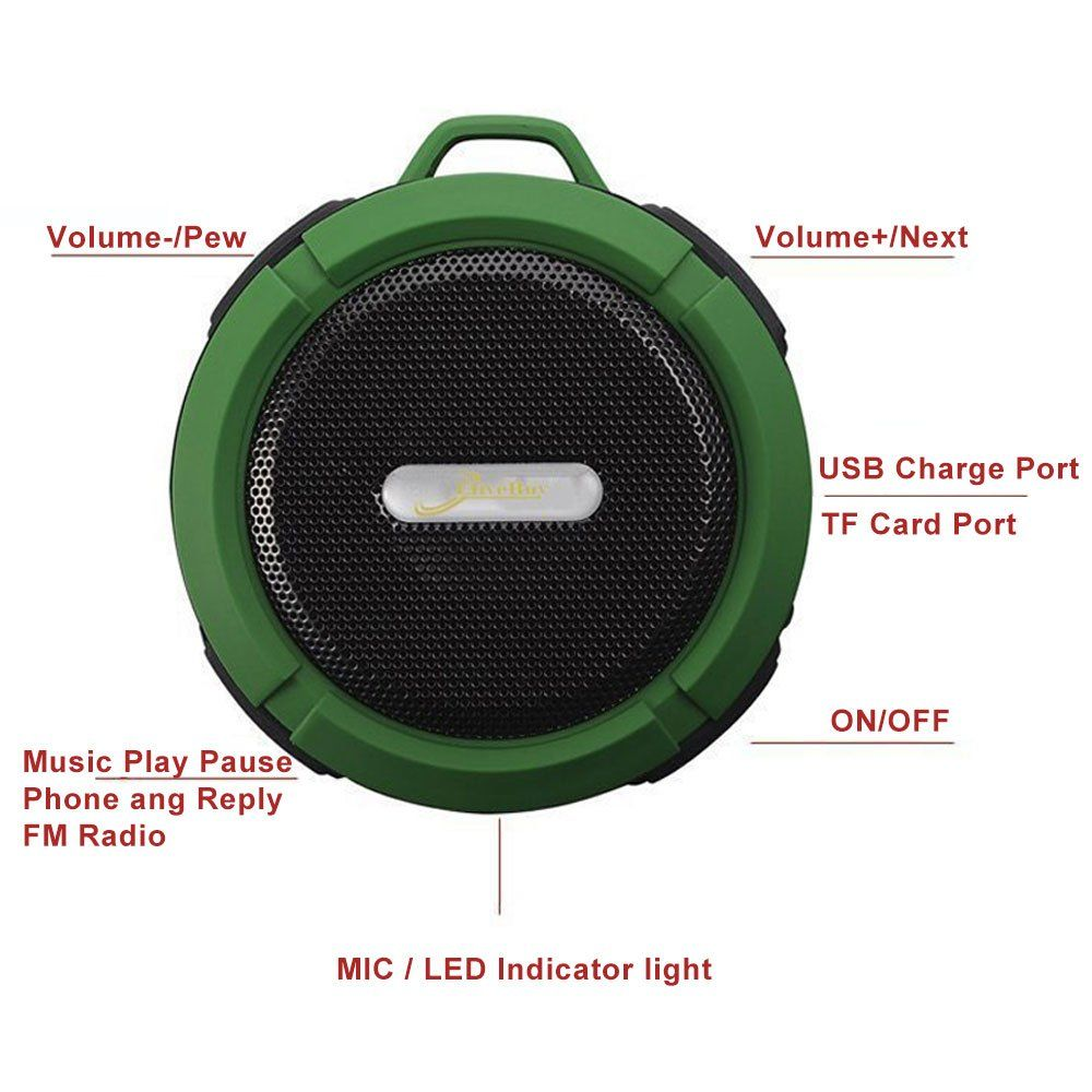 Shower Speaker Elive Waterproof Bluetooth V4 2 With 5w Driver Suction Cup Tf Card Function Builtin Mic And Fm Radio Army Green Updated Version