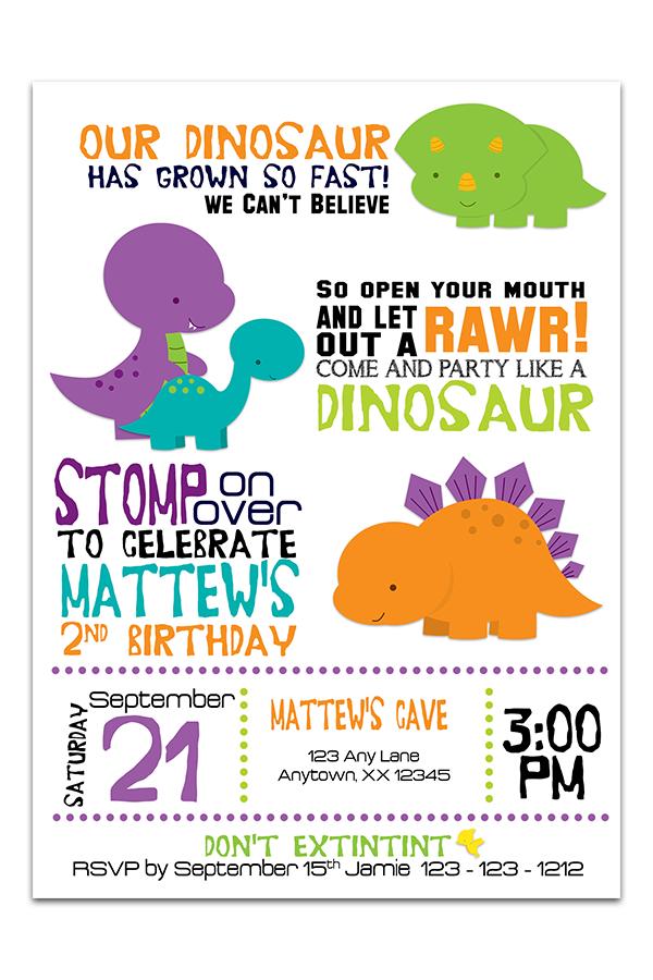 dinosaurs birthday invitation