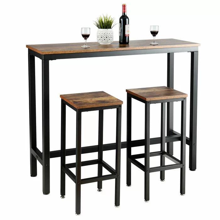 230 Williston Forge Vidette 3 Piece Counter Height Dining Table Set Wayfair Bar Table Sets Bar Dining Table Dining Table In Kitchen 3 piece counter height table set