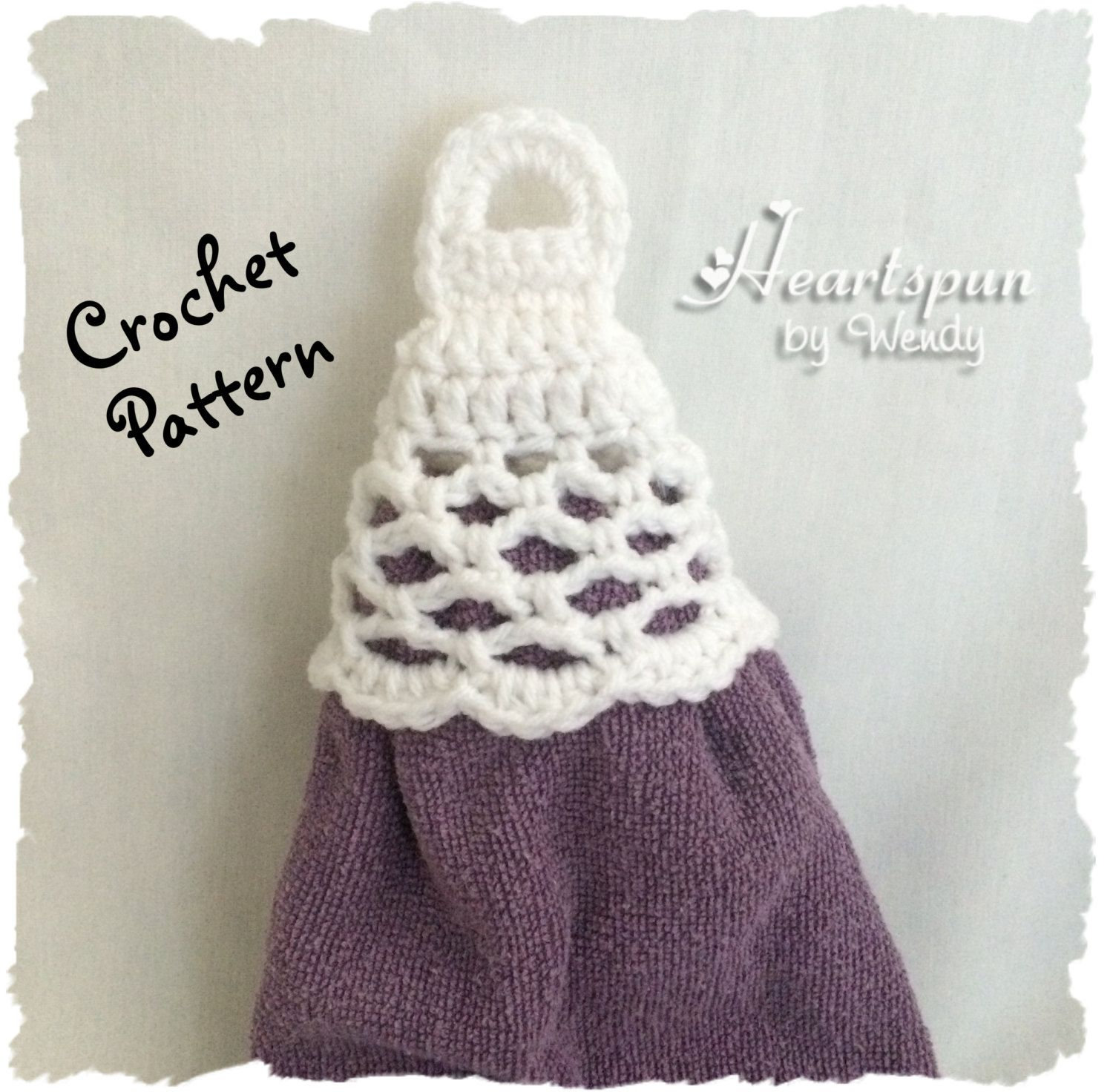 CROCHET PATTERN to make a knob lattice skirt towel ring for hand or ...
