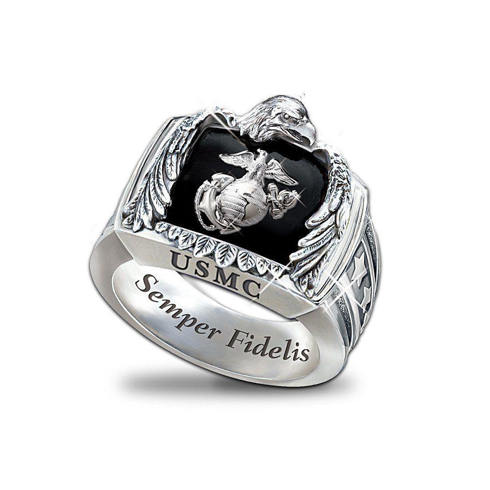 Silver Wedding Rings Mens Wedding Rings For Men Wedding Bands Usmc Ring Rings For Men Personalized Mens Rings